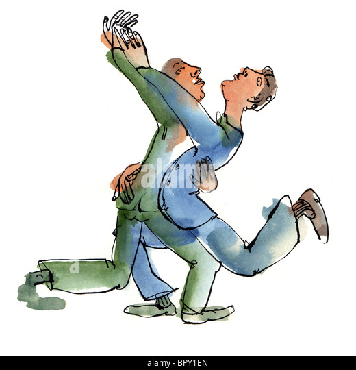 Two men dancing with each other - Stock Image