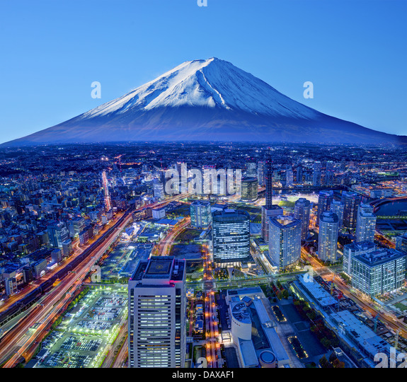 Skyline of Mt. Fuji and Yokohama, Japan. - Stock Image