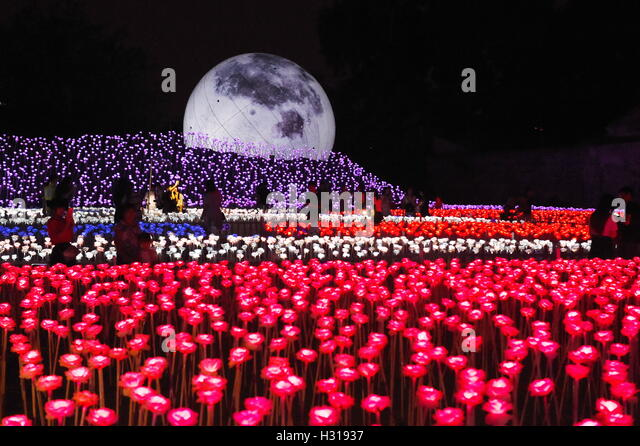 Fuzhou, China's Fujian Province. 3rd Oct, 2016. LED roses are lit up at SanfangQixiang (Three Lanes and Seven - Stock Image