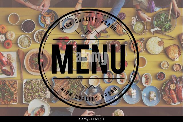 Menu Choice Cafe Computer Digital Food Options Concept - Stock Image