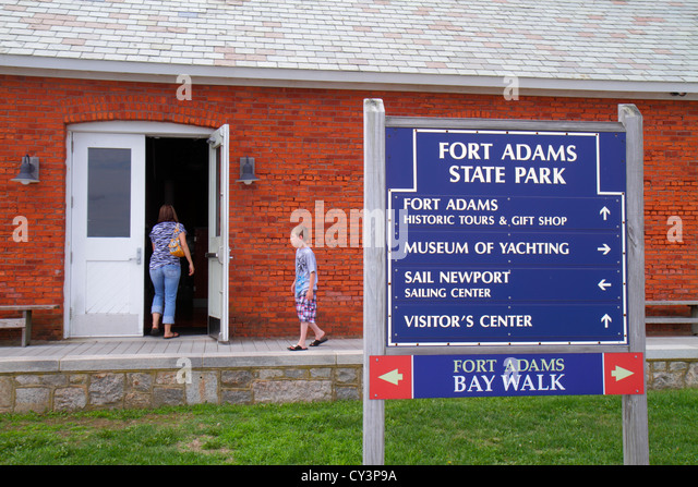Rhode Island Newport Fort Ft. Adams State Park sign Museum of Yachting Bay Walk - Stock Image