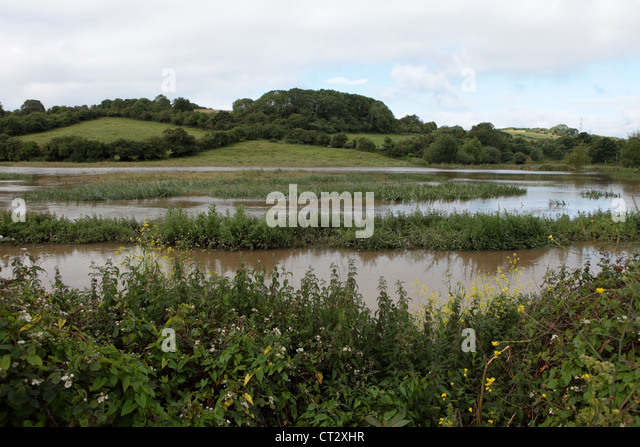 Fields in Weymouth near Radipole Lane are flooded as Weymouth in Dorset sees some of the worst weather in decades - Stock Image