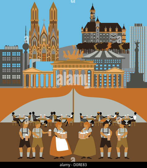 Illustration showing top tourist attractions in Germany - Stock-Bilder