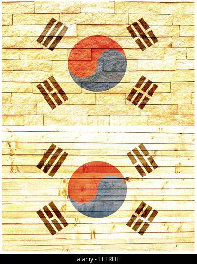 Vintage wall flag of South Korea - Stock Image