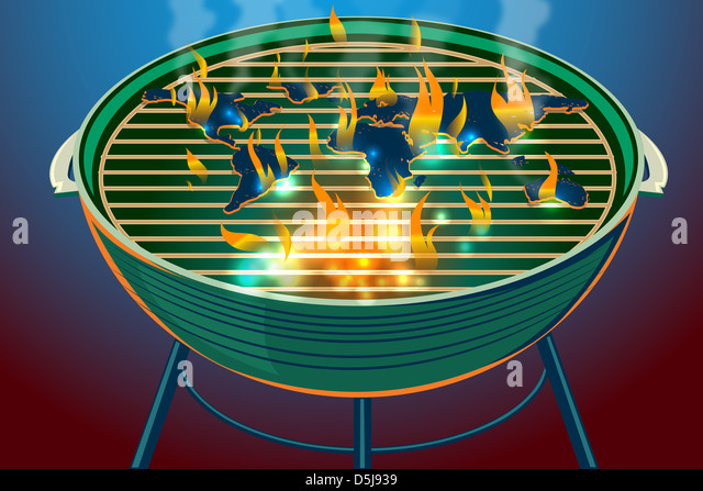 Illustrative image of world map burning on barbecue representing global warming - Stock Image