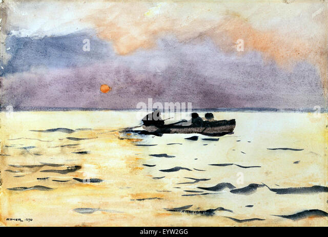 Winslow Homer, Rowing Home 1890 Watercolor. The Phillips Collection, Washington, D.C., USA. - Stock Image
