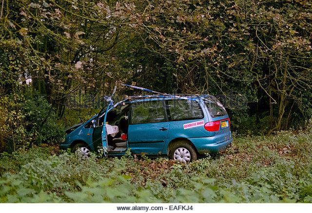 A car crashed in woodland - Stock Image