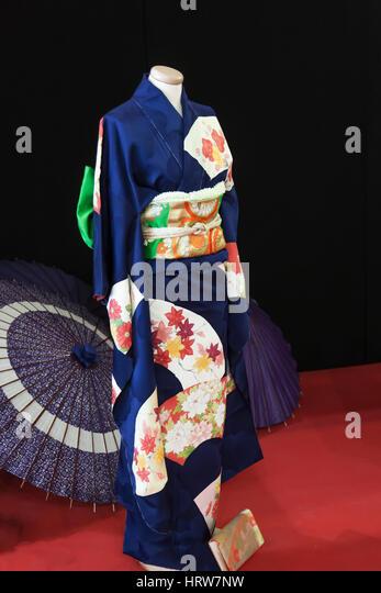 Kimono of a married woman named Kurotomesode - Stock Image