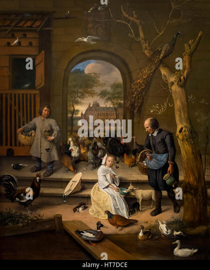 Portrait of Jacoba Maria van Wassenaer, The Poultry Yard, by Jan Steen, 1660, Royal Art Gallery, Mauritshuis Museum, - Stock Image