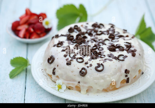 cake with cream and chocolate - Stock Image