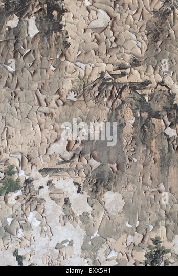 detail of an old and completely ruined painting - Stock Image