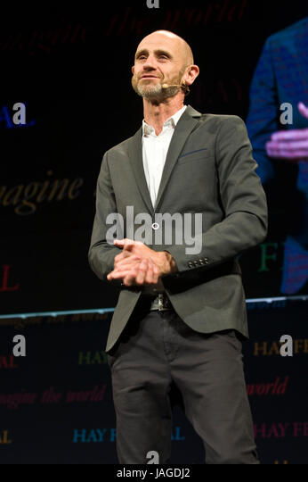 Evan Davis BBC journalist speaking on stage at Hay Festival 2017 Hay-on-Wye Powys Wales UK - Stock Image