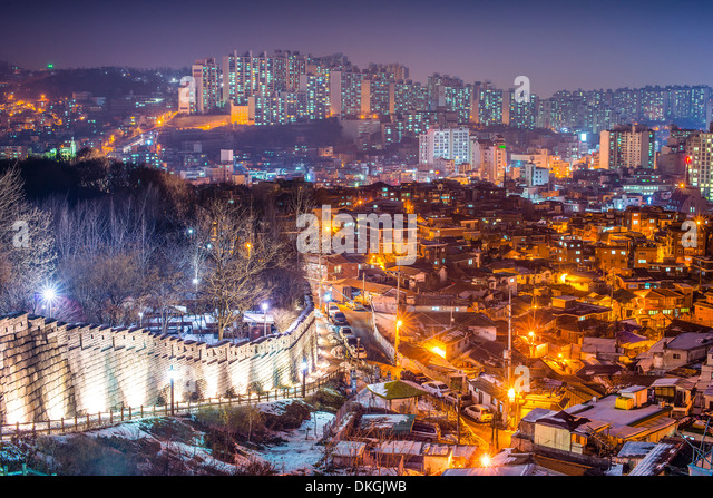 Seoul, South Korea at Naksan Park and the old city wall. - Stock Image