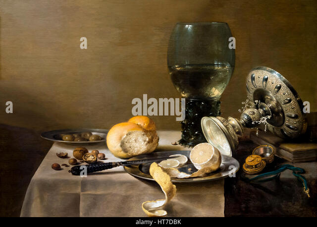 Still Life with Tazza, by Pieter Claesz, 1636, Royal Art Gallery, Mauritshuis Museum, The Hague, Netherlands, Europe - Stock Image