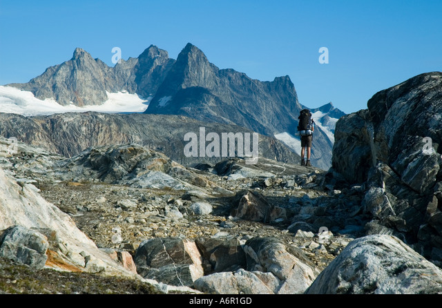 On the Tiniteqilâq ridge, Sermilik Fjord, East Greenland - Stock Image