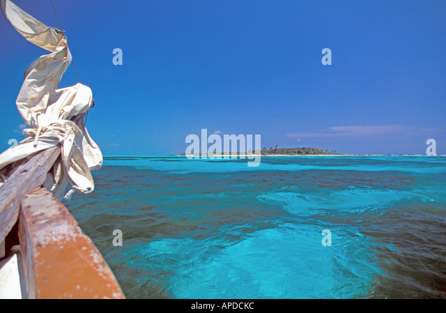 Mexico Isla Contoy National Park sailboat prow bow - Stock Image