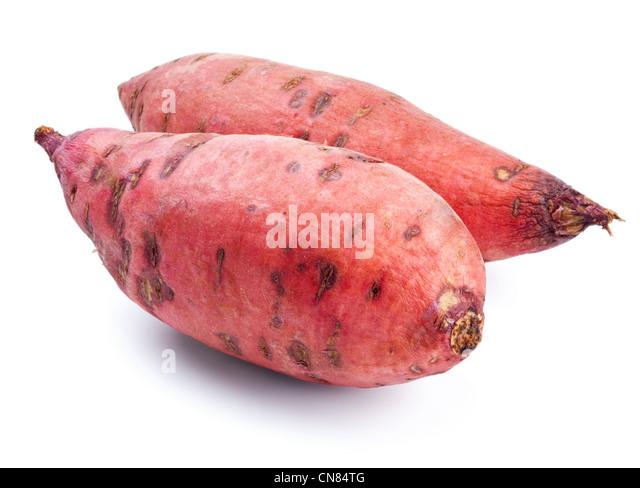 Sweet potato isolated on white background - Stock Image