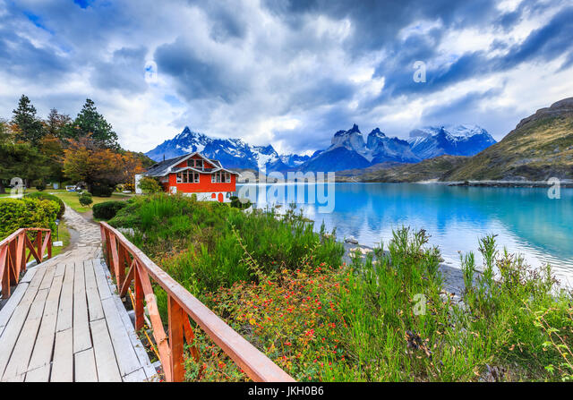 Torres Del Paine National Park, Chile. Pehoe Lake. - Stock Image
