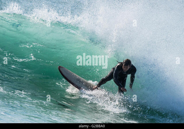 Windy weather creates ideal surfing conditions at Fistral in Newquay, Cornwall. - Stock-Bilder