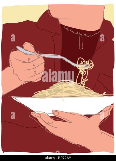 eating pasta - Stock-Bilder