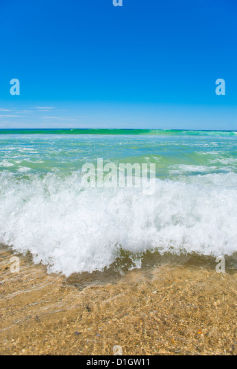 Crystal clear blue sea at Surfers Paradise, Gold Coast, Queensland, Australia, Pacific - Stock Image