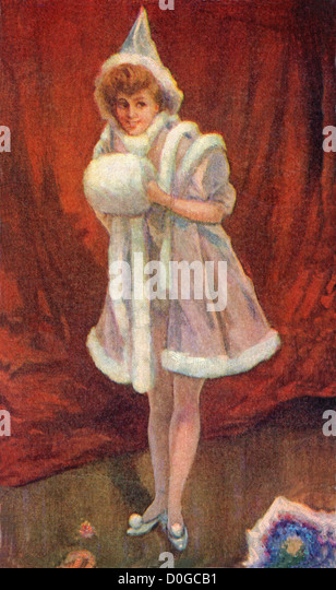 Archival illustration of a girl dressed up in fur lined clothing for Christmas, circa 1908. - Stock-Bilder