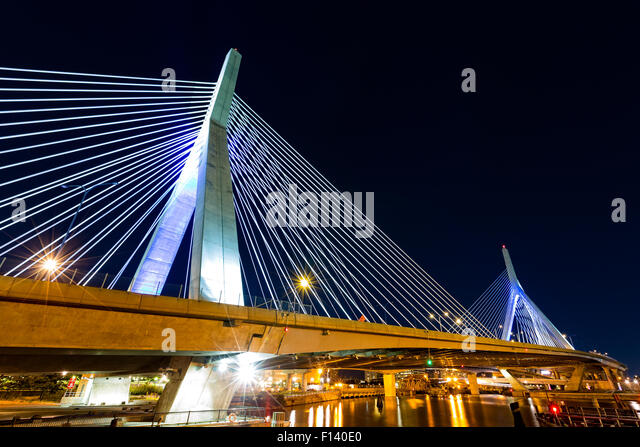 Zakim Bunker Hill bridge in Boston, MA by night - Stock Image