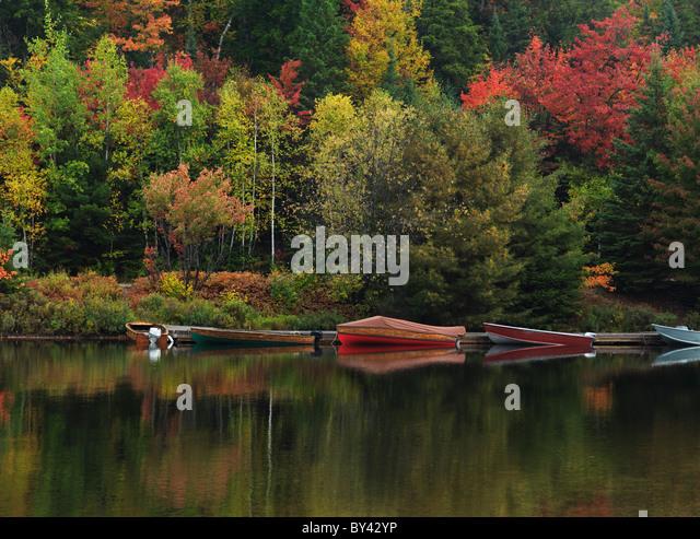 Docked boats at Canoe lake. Fall nature scenery. Algonquin Provincial Park, Ontario, Canada. - Stock Image