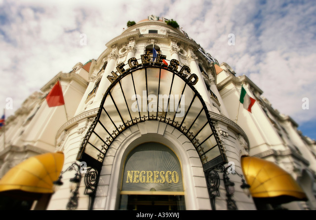 France Nice Promenade des Anglais Hotel Negresco entrance - Stock Image