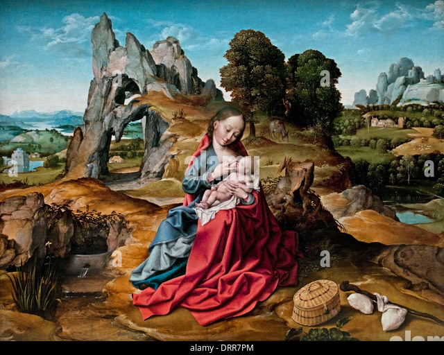 The Rest on the Flight into Egypt by Joost van der Beke Van Cleve  1480-1541 Flemish Belgian Belgium - Stock Image