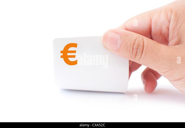 Euro symbol playing card - Stock Image