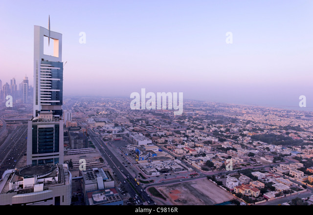 View of downtown Dubai, towers, skyscrapers, hotels, modern architecture, Sheikh Zayed Road, Financial District - Stock Image