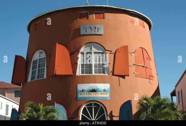 British Virgin Islands Tortola Road Town Shopping Stores - Stock Image