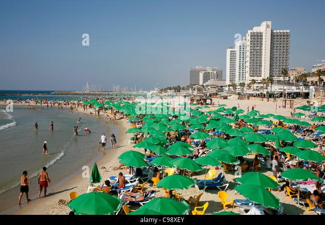 Beach, Tel Aviv, Israel. - Stock Image