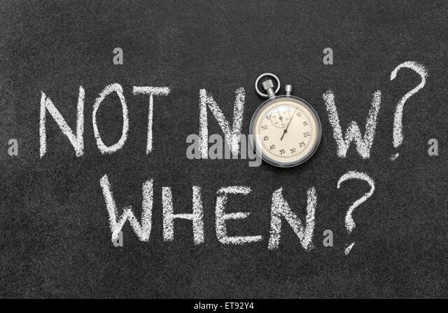 not now, when handwritten on chalkboard with vintage precise stopwatch used instead of O - Stock Image