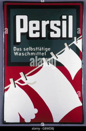 advertising, detergents, billboard for 'Persil' by Henkel, 1930s, - Stock Image