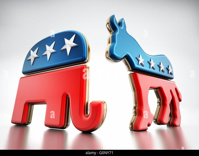 USA Political party symbols isolated on white background. Elephant for Republicans and donkey for the democrats. - Stock Image