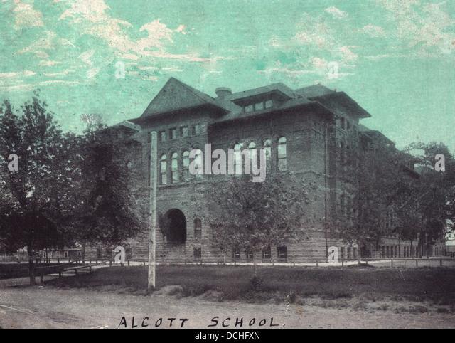 Alcott School - Vintage postcard - Stock Image