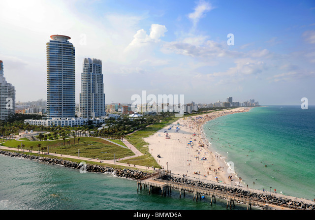 Aerial view of South Miami Beach - Stock Image