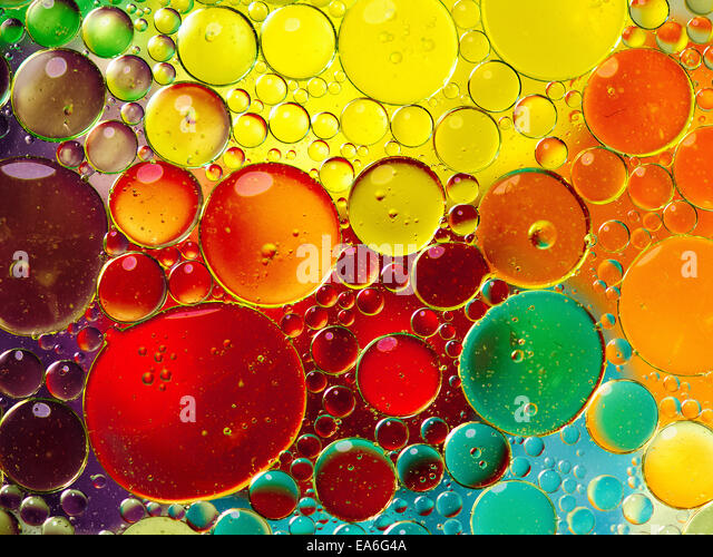 Oil bubbles in water - Stock-Bilder