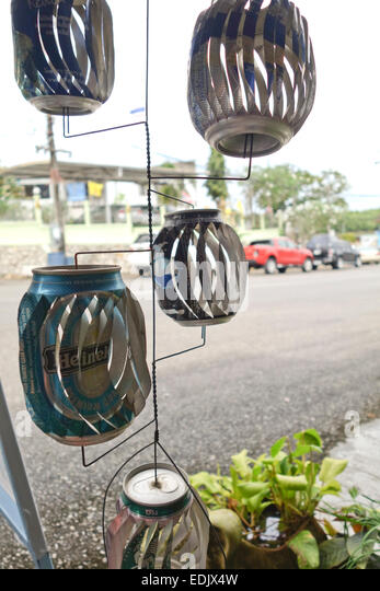 Can wind spinner made out of beer cans, Krabi, Thailand, Southeast Asia. - Stock Image