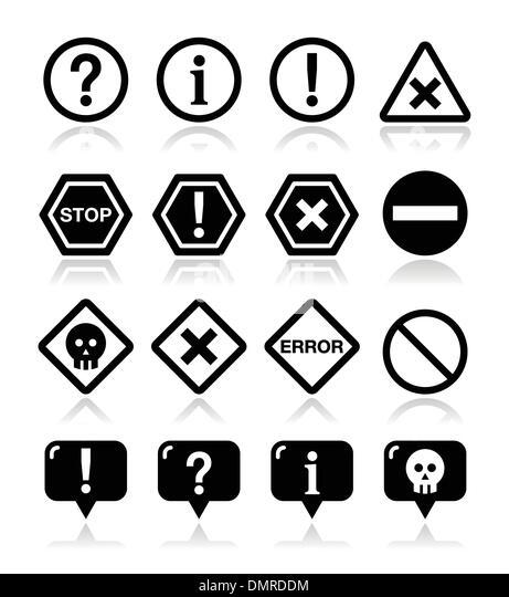 System icons - warning, danger, error isolated on white - Stock Image