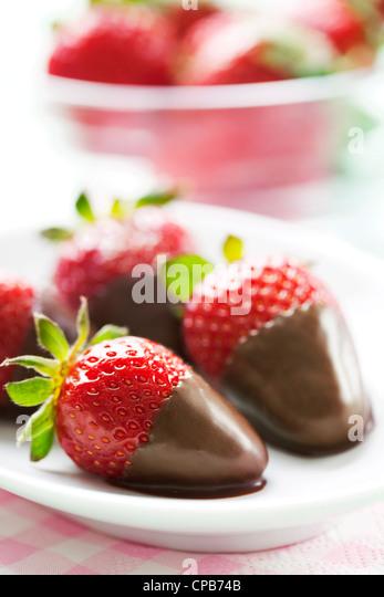 chocolate dipped strawberries - Stock Image