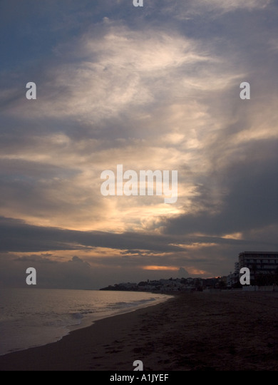 Dusk over la Cala beach, La Cala, de Mijas , Spain, Costa del Sol, Andalucia, Andalusia Spain Spanish  Med Mediterranean - Stock Image