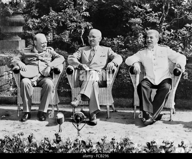 Potsdam Conference, 1945. British Prime Minister Winston Churchill, US President Harry S Truman, and Soviet Premier - Stock Image