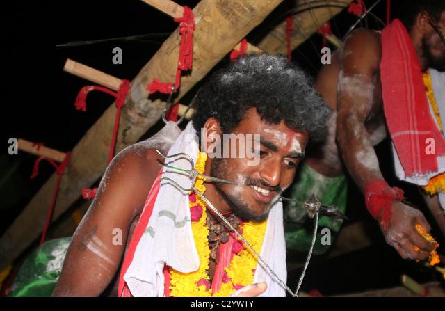 Kerala Warrior in Vishnu festival near Kovalam - Stock Image