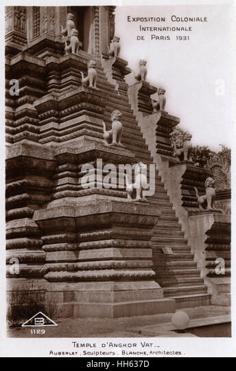 Exposition Coloniale Internationale de Paris - Recreation of a section of the Cambodian Temple site of Angkor Wat - Stock Image