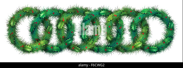 Holiday wreath border pattern design as a graphic element on a white background with round evergreen branches and - Stock Image