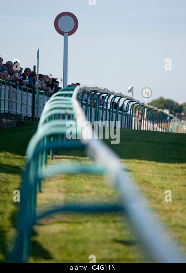 Winning Post at Brighton racecourse, Sussex, UK - Stock Image