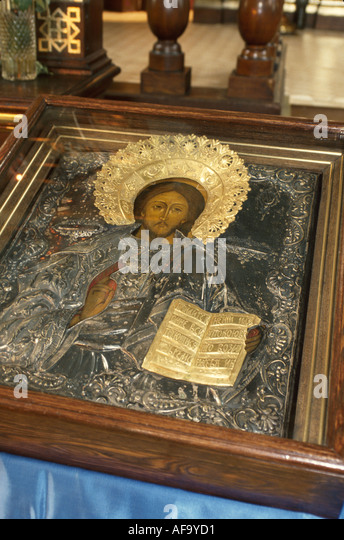 Latvia Riga Russian Orthodox Church religious icon Jesus Christ - Stock Image